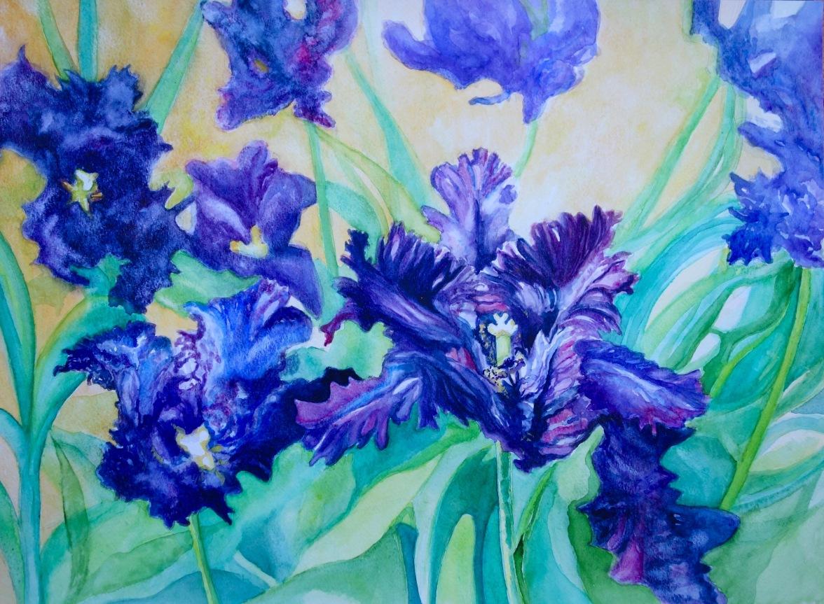 Black Tulips - Watercolour