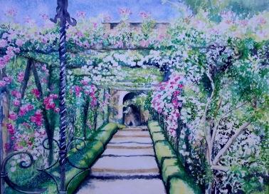 Polesden Lacey. Rose Garden - Watercolour